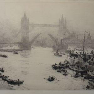 WILLIAM LIONEL WYLLIE - ETCHING - BUTLER WHARF TOWER BRIDGE