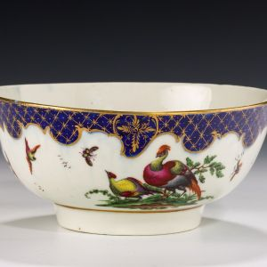 ANTIQUE WORCESTER PORCELAIN BOWL WITH FABULOUS BIRDS PATTERN