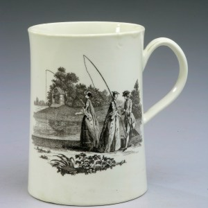 ANTIQUE WORCESTER PORCELAIN PRINTED MUG