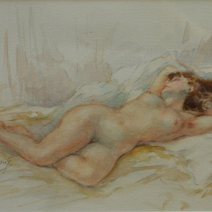 YVES DIEY WATERCOLOUR FEMALE NUDE