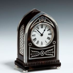 ANTIQUE SILVER & TORTOISESHELL GOTHIC MANTLE CLOCK-WILLIAM COMYNS