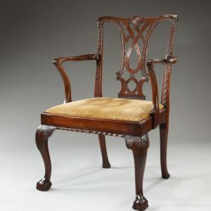 ANTIQUE GEORGIAN MAHOGANY OPEN ARMCHAIR