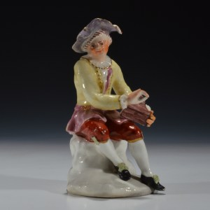 ANTIQUE BOW PORCELAIN FIGURE OF SALT BOX PLAYER