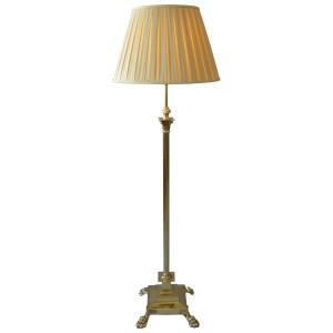 ANTIQUE BRASS ADJUSTABLE REEDED COLUMN STANDARD LAMP