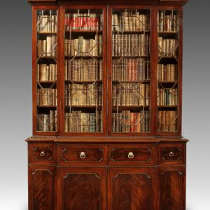 ANTIQUE GEORGIAN MAHOGANY BREAKFRONT BOOKCASE