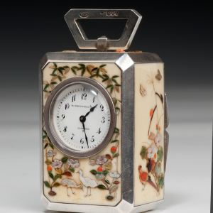 ANTIQUE SILVER, IVORY & SHIBAYAMA CARRIAGE CLOCK