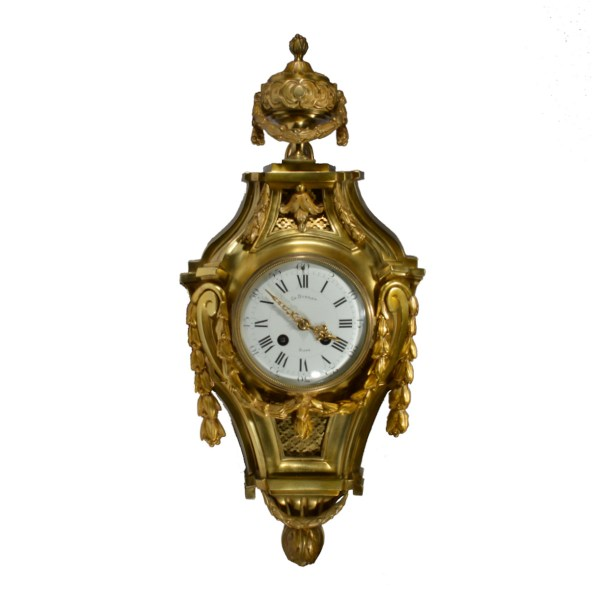 ANTIQUE LOUIS XVI STYLE FRENCH GILT BRONZE CARTEL CLOCK BY CHARLES DUBRET