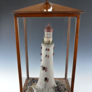 RARE ANTIQUE MAHOGANY CASED CORK MODEL OF A LIGHTHOUSE