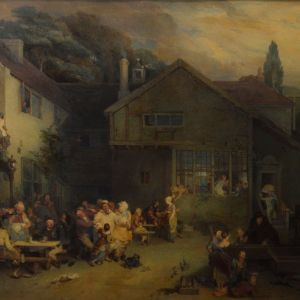 STEPHEN POYNTZ DENNING WATERCOLOUR GENRE VILLAGE SCENE