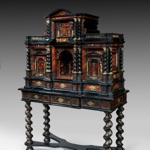 ANTIQUE FINE AND RARE FLEMISH BAROQUE TORTOISESHELL CABINET ON STAND