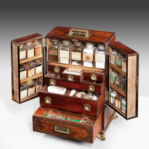 VERY RARE ANTIQUE REGENCY APOTHECARY MEDICINE CABINET