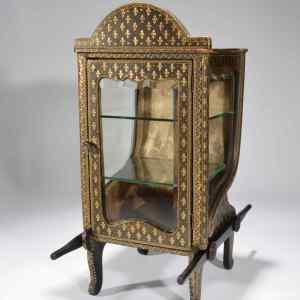 ANTIQUE EARLY 19TH CENTURY SEDAN CHAIR VITRINE CABINET
