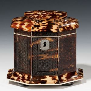 RARE ANTIQUE PRESSED TORTOISESHELL TEA CADDY