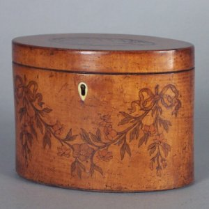 ANTIQUE HAREWOOD OVAL TEA CADDY WITH INLAY