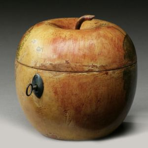 RARE ANTIQUE PAINTED APPLE SHAPED TEA CADDY