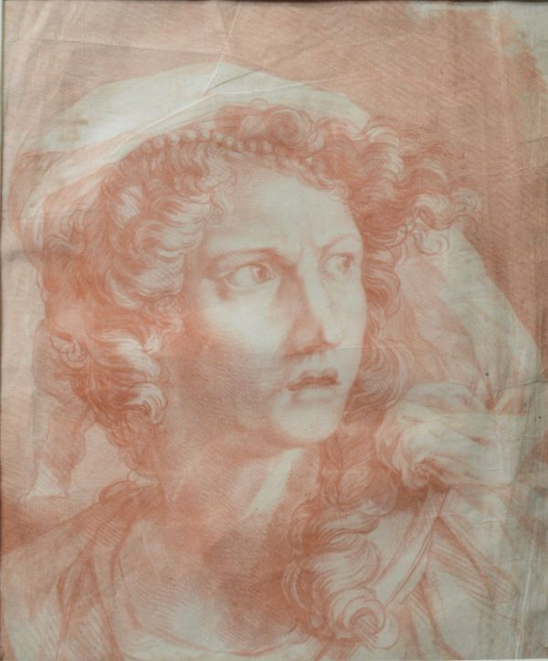 19TH CENTURY RED CHALK DRAWING PRINT WOMAN