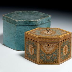 ANTIQUE MUSEUM QUALITY ROLLED PAPER TEA CADDY