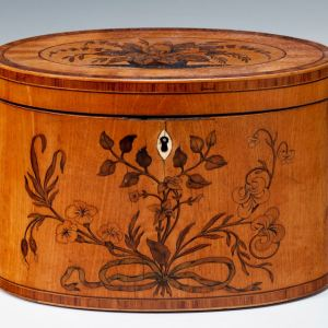 ANTIQUE OVAL INLAID SATINWOOD TEA CADDY