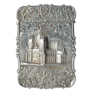 ANTIQUE SILVER CASTLE TOP CARD CASE BY NATHANIEL MILLS