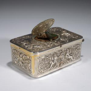 ANTIQUE SILVER PLATED SINGING BIRD BOX