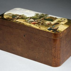 ANTIQUE SPA DOUBLE TEA CADDY WITH PAINTED PANELS