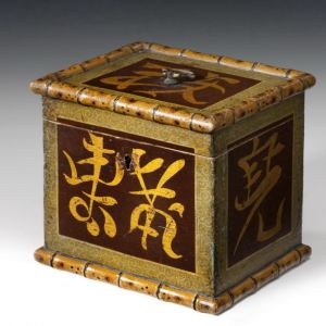 ANTIQUE PAINTED TEA CADDY IN CHINESE STYLE