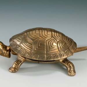 ANTIQUE GILDED TORTOISE TABLE BELL