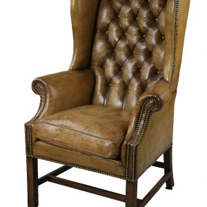 ANTIQUE GEORGE III LEATHER WING ARMCHAIR ON CHAMFER LEGS
