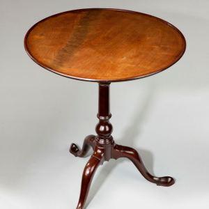 ANTIQUE GEORGE III MAHOGANY BIRDCAGE DISH TOP TABLE