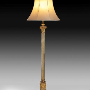 ANTIQUE BRASS ADJUSTABLE STANDARD LAMP WITH REEDED COLUMN