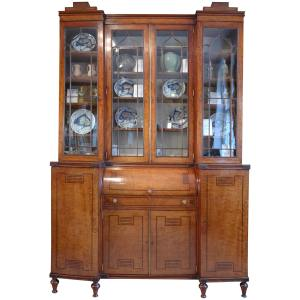 ANTIQUE REGENCY MAHOGANY BREAKFRONT SECRETAIRE BOOKCASE