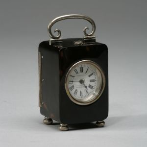 ANTIQUE TORTOISESHELL & SILVER CARRIAGE CLOCK