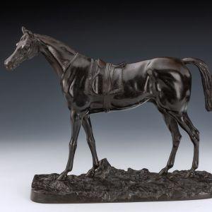 ANTIQUE CAST IRON HORSE SCULPTURE OF AFTER MENE