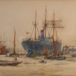CHARLES DIXON- WATERCOLOUR-THAMES SHIPPING