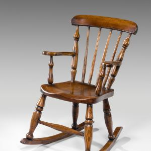 ANTIQUE CHILDS ASH & ELM ROCKING CHAIR