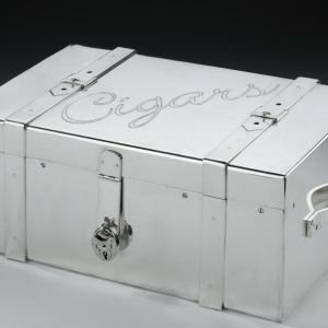 LARGE SILVER PLATED CIGAR BOX