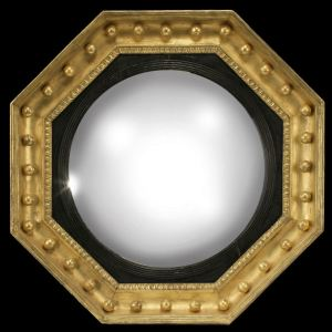 ANTIQUE REGENCY OCTAGONAL CONVEX MIRROR WITH EBONISED SLIP