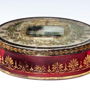 ANTIQUE REGENCY CRANBERRY GLASS DRESSING TABLE BOX