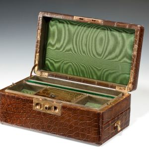 ANTIQUE CROCODILE JEWELLRY BOX