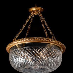 ANTIQUE ORMOLU & FLAT DIAMOND CUT GLASS BOWL LIGHT