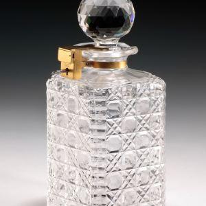 ANTIQUE GLASS BETJEMANNS LOCKING DECANTER