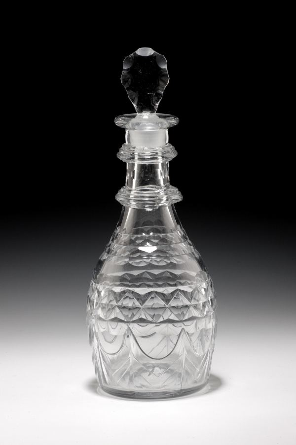 ANTIQUE GLASS DOUBLE NECK RING DECANTER