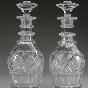 PAIR OF ANTIQUE CUT GLASS DECANTERS