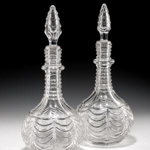 PAIR OF ANTIQUES GLASS DECANTERS