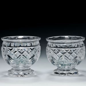 ANTIQUE PAIR OF CUT GLASS SALT CELLARS