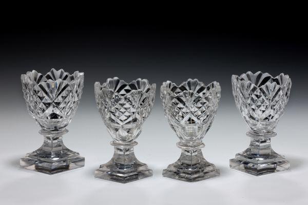 ANTIQUE SET OF FOUR GLASS SALTS