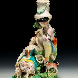 ANTIQUE DERBY PORCELAIN GROUP GALLANT & LADY