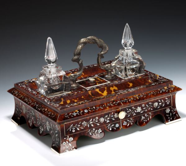 ANTIQUE TORTOISESHELL DESK STAND WITH TWO INK BOTTLES