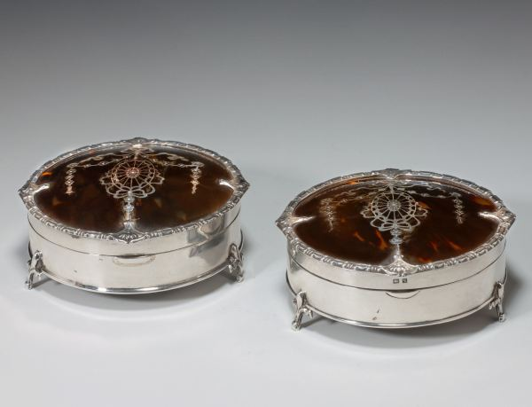 ANTIQUE PAIR OF TORTOISESHELL DRESSING BOXES
