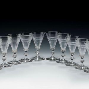 ANTIQUE SET OF TEN DWARF ALE GLASSES